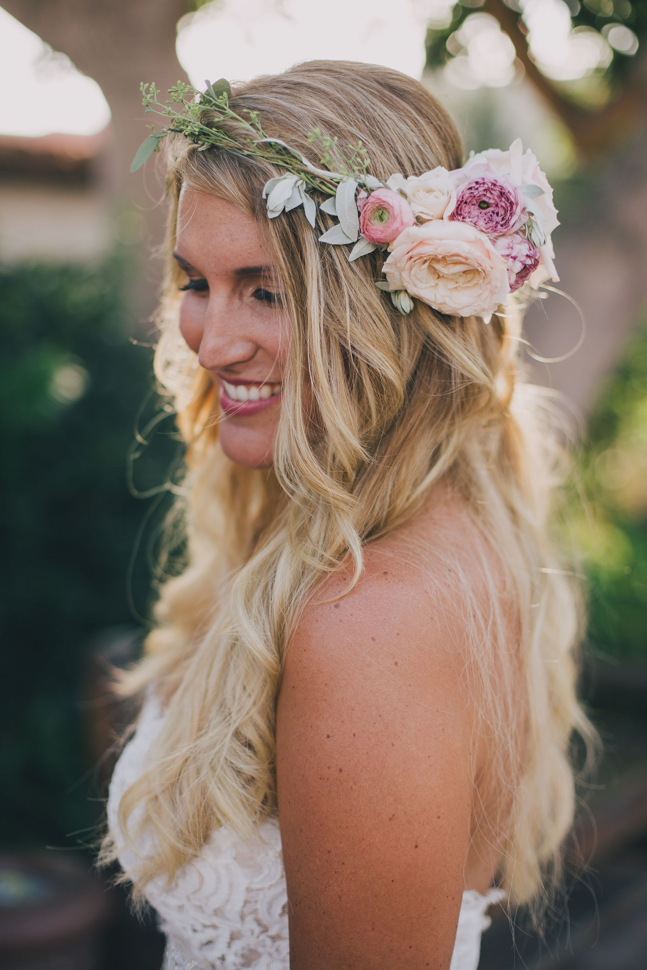 Boho bride with wedding floral crown photo by kelly stonelake