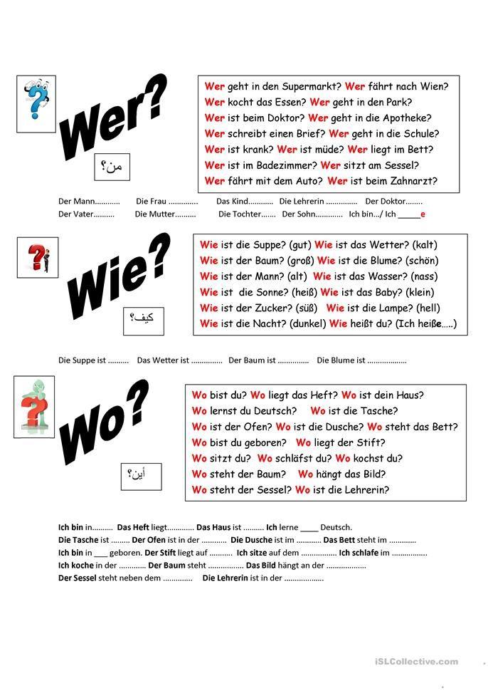 Fragen richtig beantworten! | Deutsch, Worksheets and Language