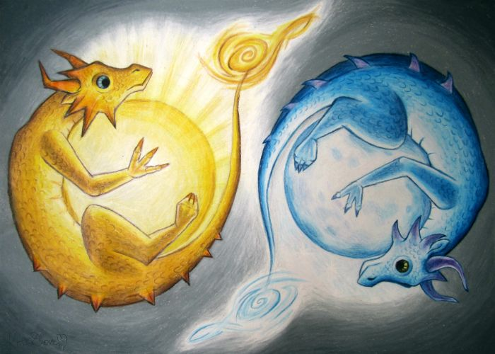 sun and moon light the playful dragons in this colored pencil drawing by katarina elaine m are meant to represent the bright sun and reflective moon