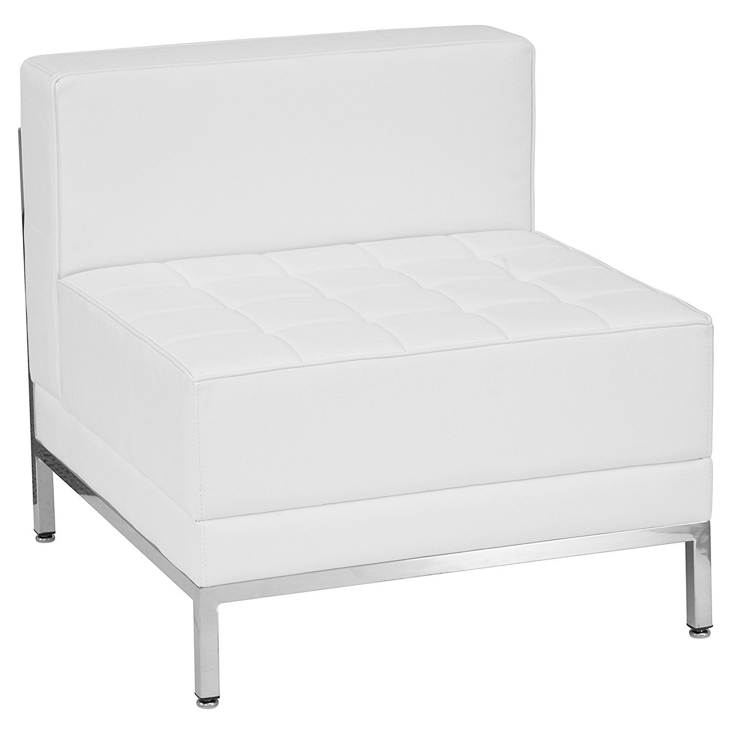 White leather reception lounge sofa sectional section chair tufted