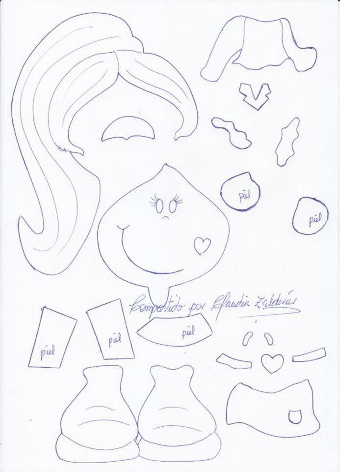 Fofucha Plana moldes 2 | patrones para fofuchas | Pinterest