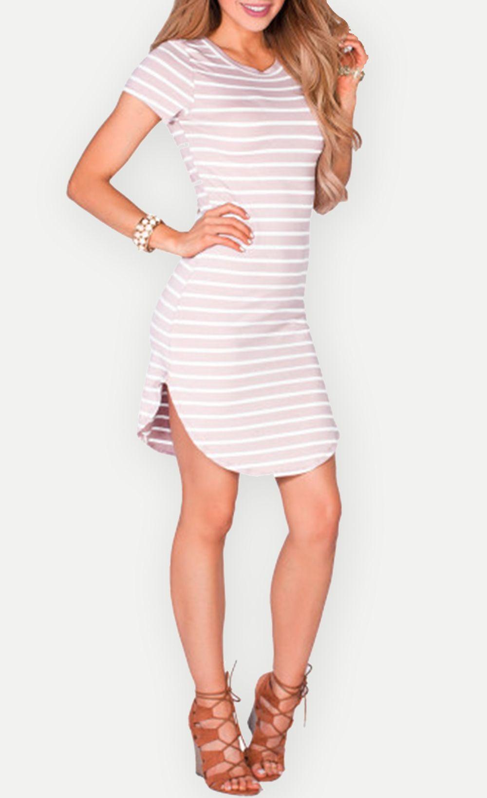 striped short sleeve tunic sexy short t shirt dress fashion