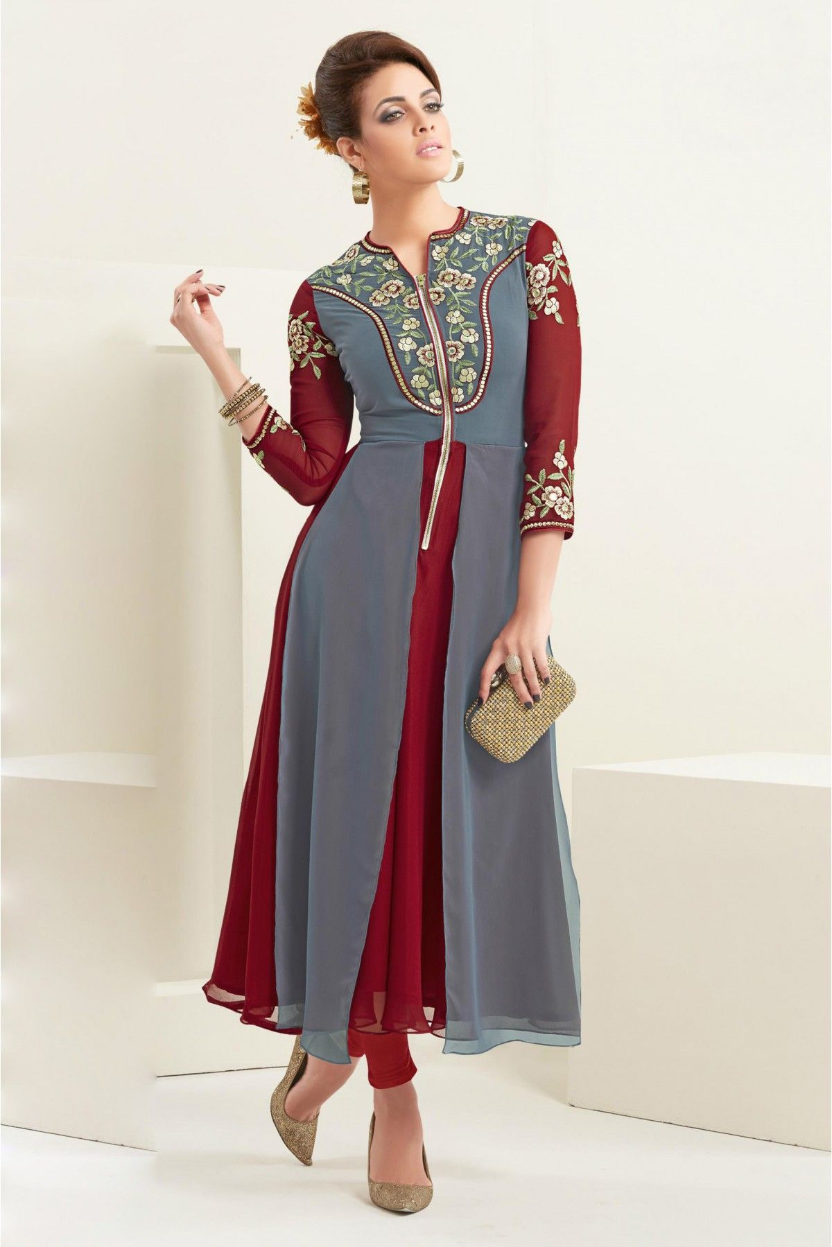 1f21eec96748 Buy online maroon and grey colored faux georgette designer suit. This  beautiful designer suit is enriched with embroidered. Shop online indian  attire at ...
