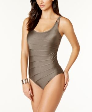 a28f4415e9367 Calvin Klein Starburst One-Piece Swimsuit,A Macy's Exclusive Style - Brown  18