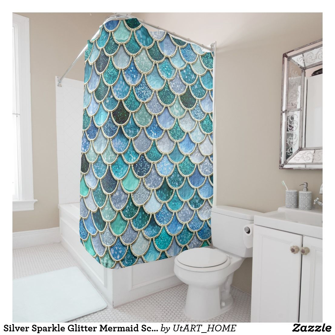 Mermaid Scale Shower Curtain Silver Sparkle Glitter Mermaid Scales Shower Curtain Zazzle