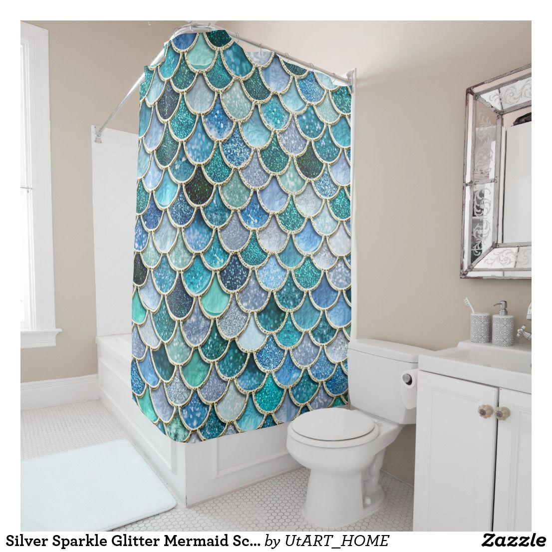 Silver Sparkle Glitter Mermaid Scales Shower Curtain Zazzle Com