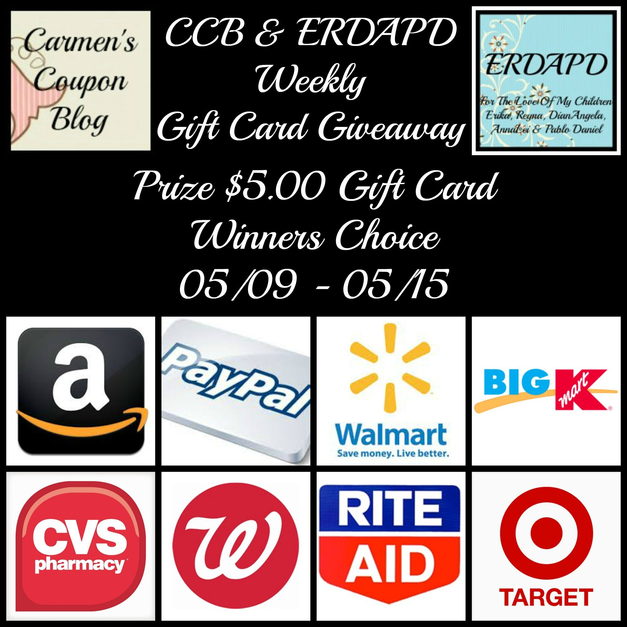 Ends 0515 weekly gift card giveaway enter to win a 5