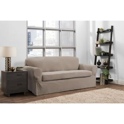 Smart Fit Portland 2-Piece Stretch Sofa Slipcover In Taupe ...