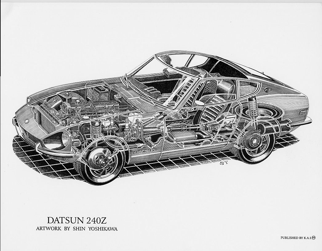 datsun 240z cutaway drawing by shin yoshikawa perspective drawings and datsun 240z. Black Bedroom Furniture Sets. Home Design Ideas