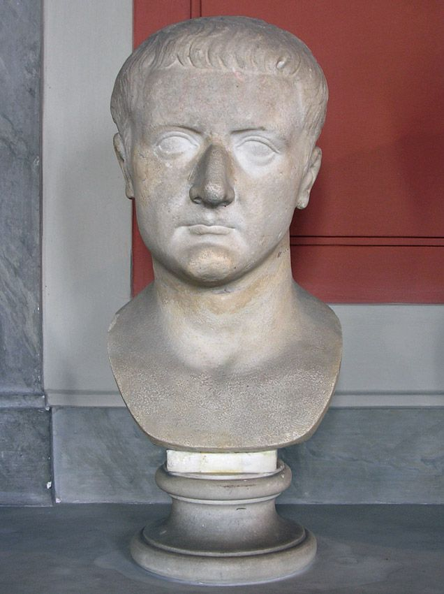 Emperor Tiberius Roman Bust Marble 1st Century Ad