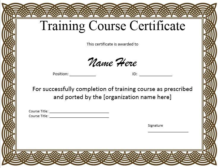 10+ Training Certificate Templates Free Printable Word  PDF