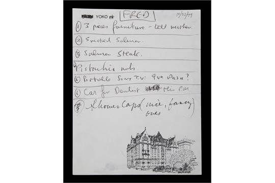A handwritten list by John Lennon and Yoko Ono in black pen on a piece of Yoko Ono Dakota Buildin