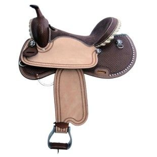 This sporty barrel saddle features a laced gullet and cantle, detailed tooling and just the right amount of bling.Tree: Fiberglass with Rawhide trim. 7″ bars Cantle: Rawhide Laced Rigging: In-skirt Stirrups: Aluminum Skirt: Round skirt with cut-away under leg Finish: Dark chocolate suede seat with medium Tan rough-out fenders and jockeys Details: Dark chocolate basketweave finish with sunburst border, spots and conchos Seat Sizes: 14″, 15″ & 16″ Weight: Aprrox. 25 LBS