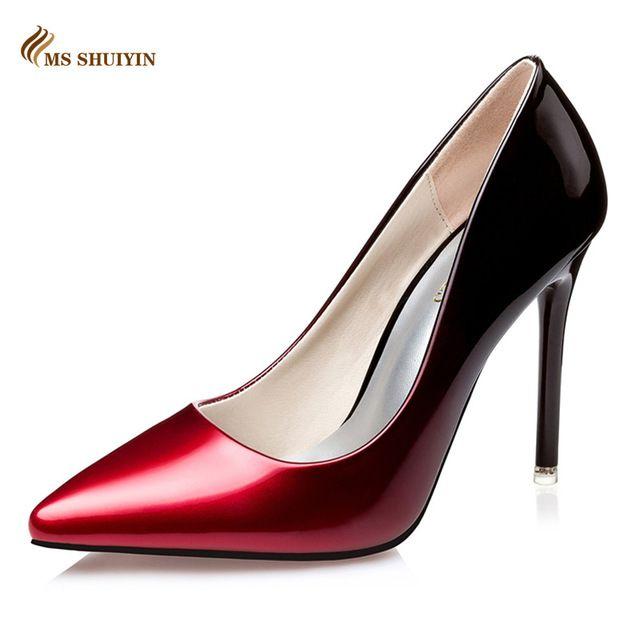45fd77af6 MS Vermelho fundo de salto alto Moda dedo apontado couro de patente mulheres  bombas Primavera outono sapatos de casamento mulher sapatos de salto alto  ...