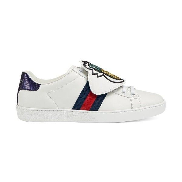 d88f7e678 Women's Gucci New Ace Pineapple Embroidered Patch Low Top Sneaker  (12.623.595 IDR) ❤ liked on Polyvore featuring shoes, sneakers, white  leather, ...