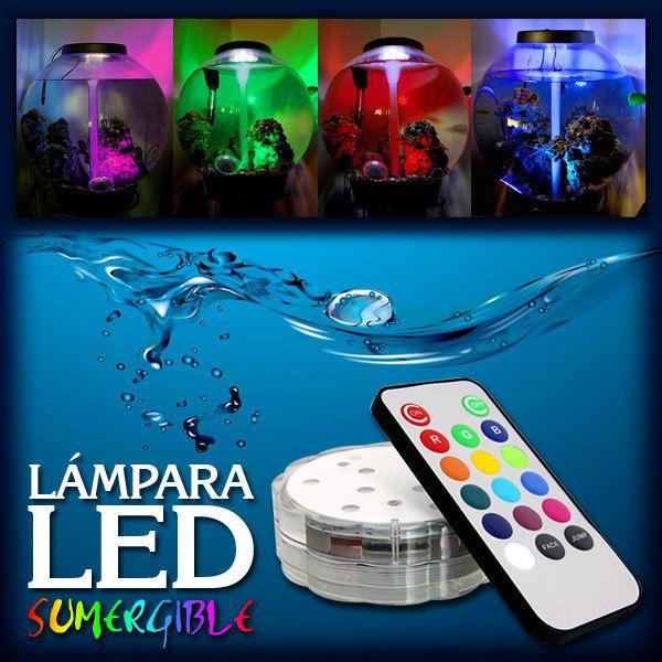Lámpara LED sumergible de 13 colores con control remoto - Tecniac