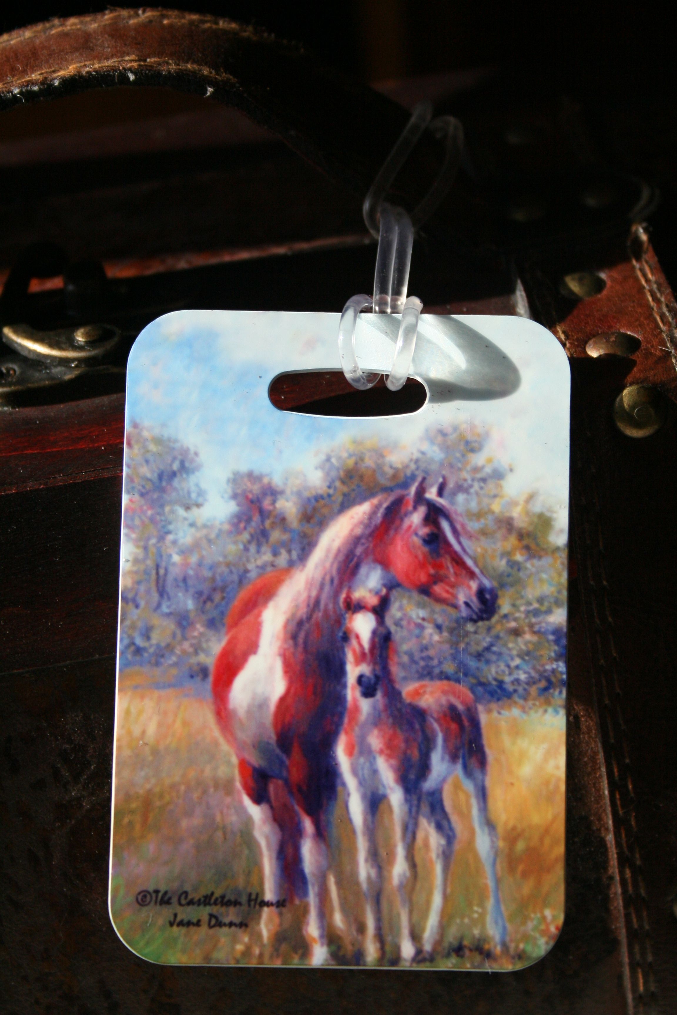 Castleton House Classic Paint mare and foal Luggage Tag.