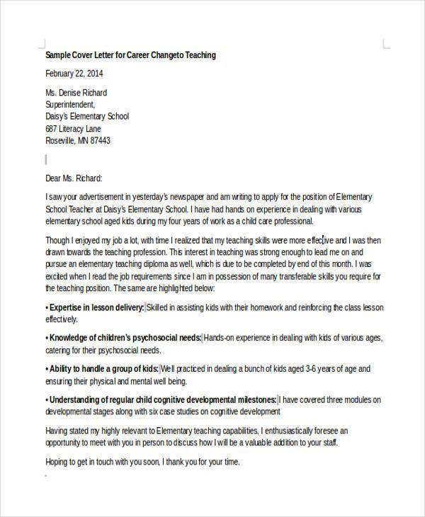 Cover Letter Template Career Change Cover Letter For Resume