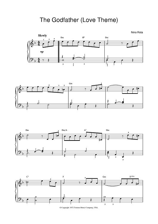 By Nino Rota - digital sheet music to download