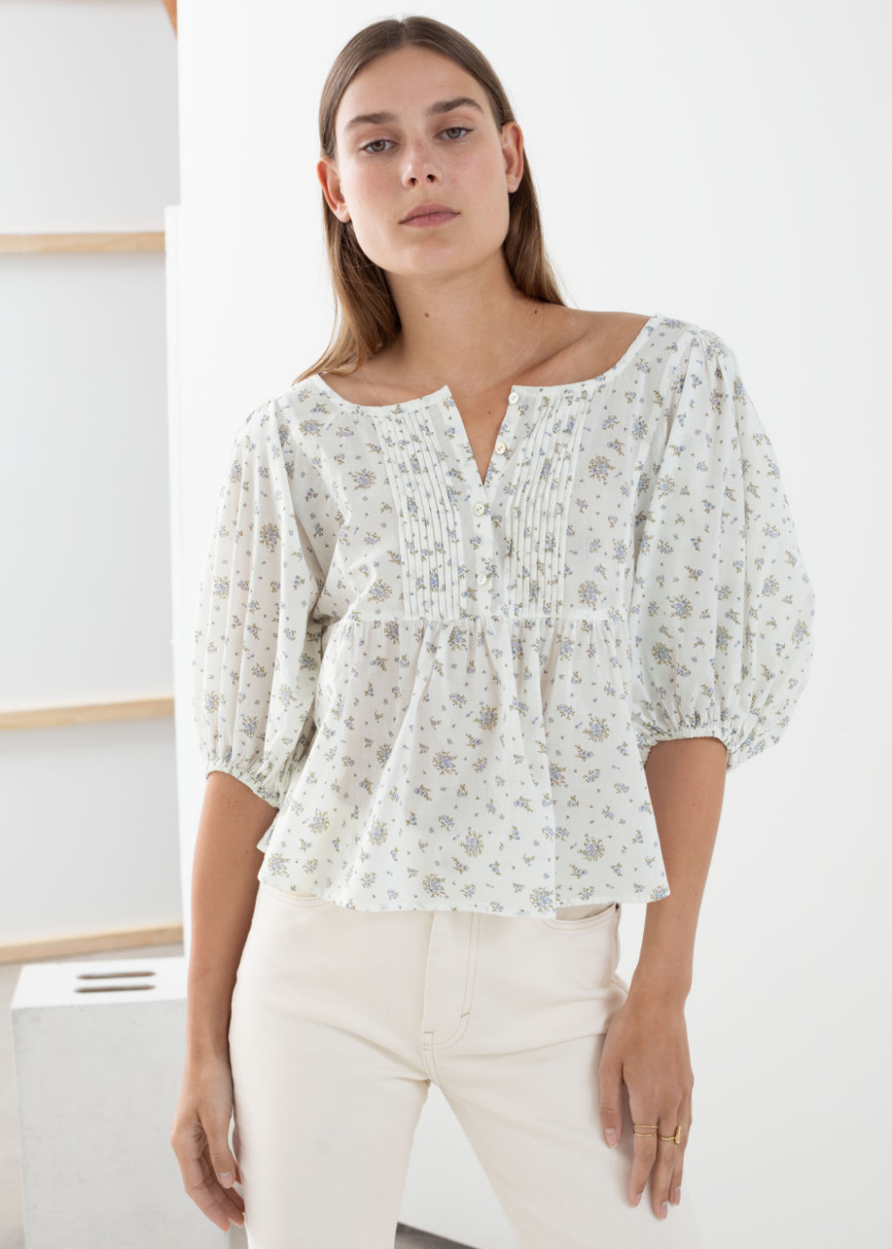 Marks /& Spencer Ivory Floral Blouse Plus Size 24 Pure Cotton with Sleeve Adjust
