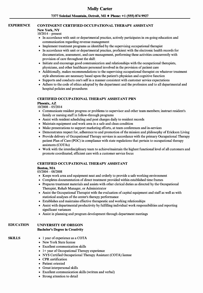 Physical Therapist Assistant Resume Examples Luxury Certif Occupational Therapy Assistant Physical Therapist Assistant Certified Occupational Therapy Assistant