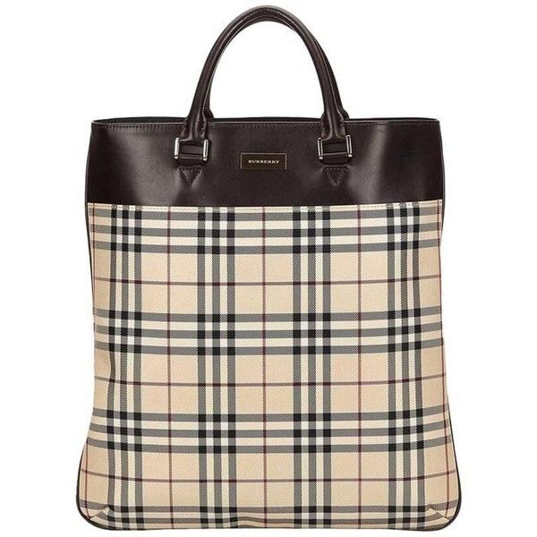 Preowned Burberry Multicolor Plaid Tote Bag ( 345) ❤ liked on Polyvore  featuring bags, handbags, tote bags, beige, totes, beige tote bag, handbags  totes, ... b57e891dc7