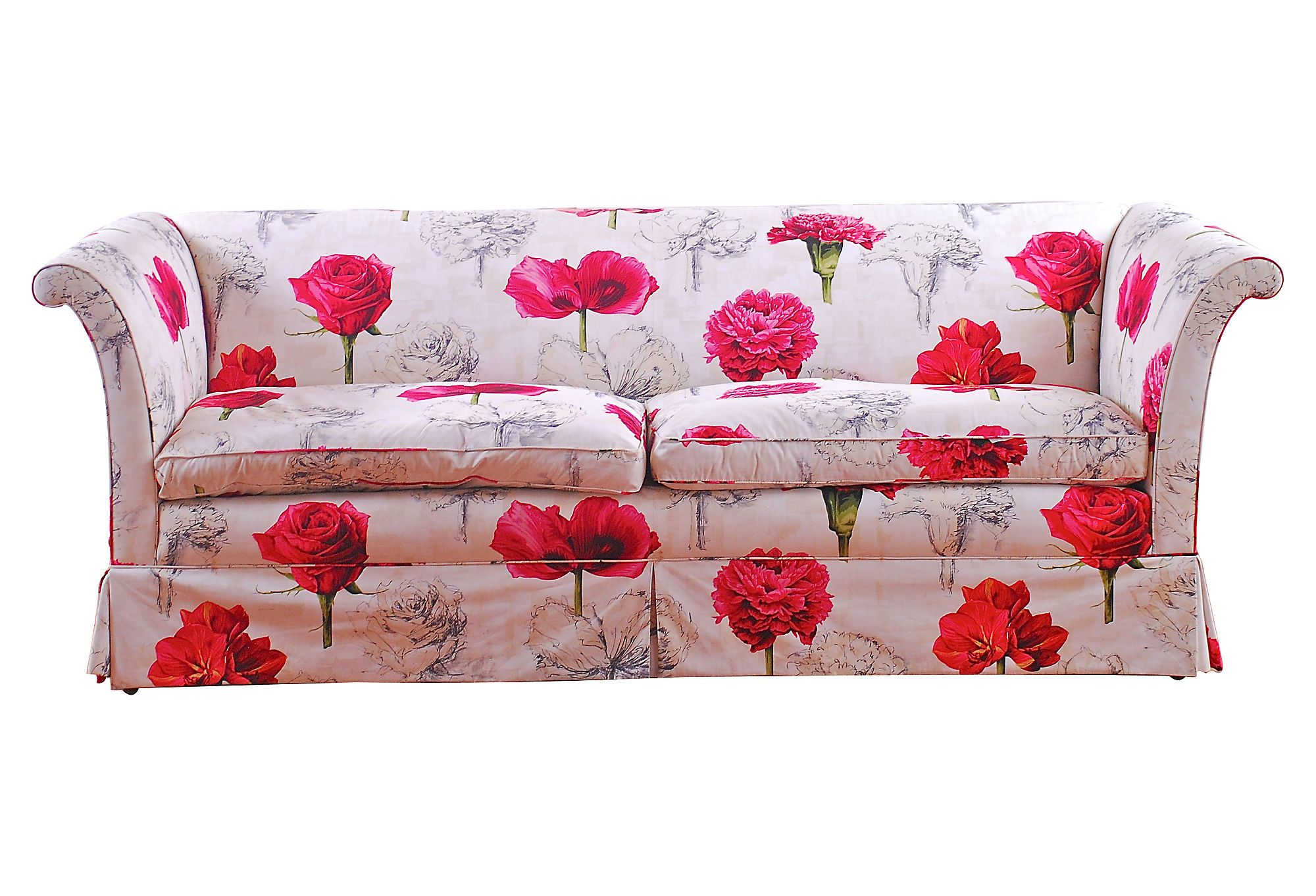 Upholstered Fl Sofa With Bright Pink Flowers On A White