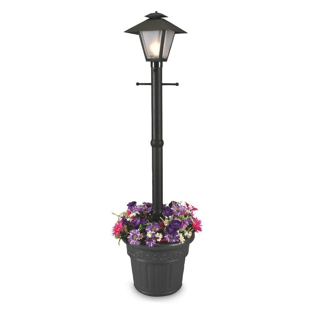 Patio Living Concepts Cape Cod Plug In Outdoor Black Post Lantern With Planter 66000 The Home Depot Lantern Post Post Lights Outdoor Post Lights