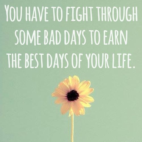 Image result for you have to fight through some bad days to earn the best days