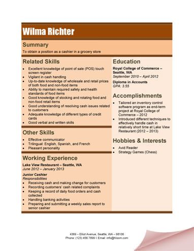 grocery store cashier resume - Sample Resume For A Cashier At Grocery Store