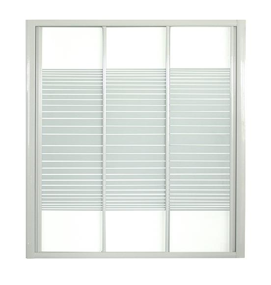 mampara mod Prima II perfilería blanca, tres puertas correderas, con vidrio de seguridad serigrafiado