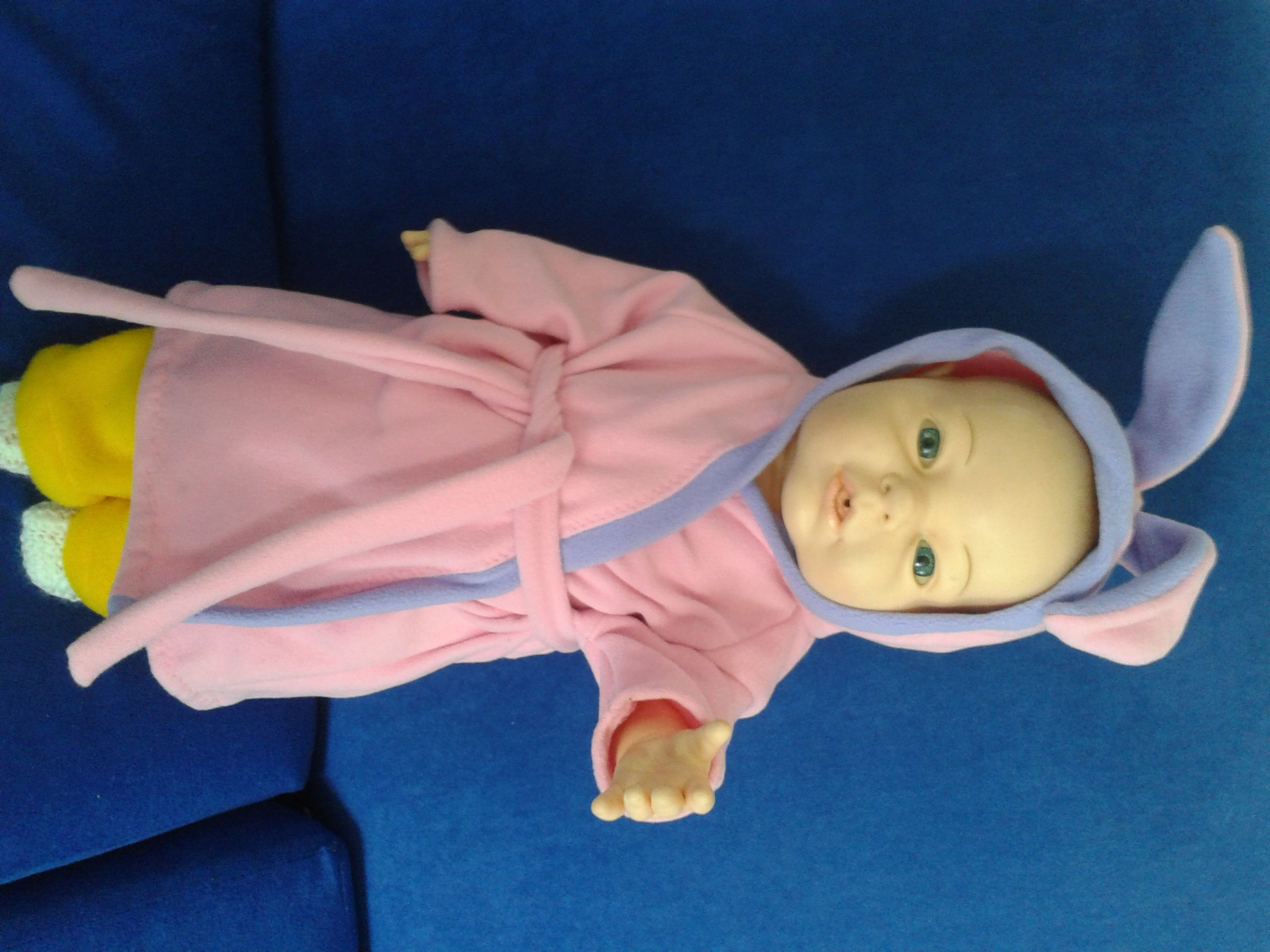 dolls clothes. bunny ears bath robe