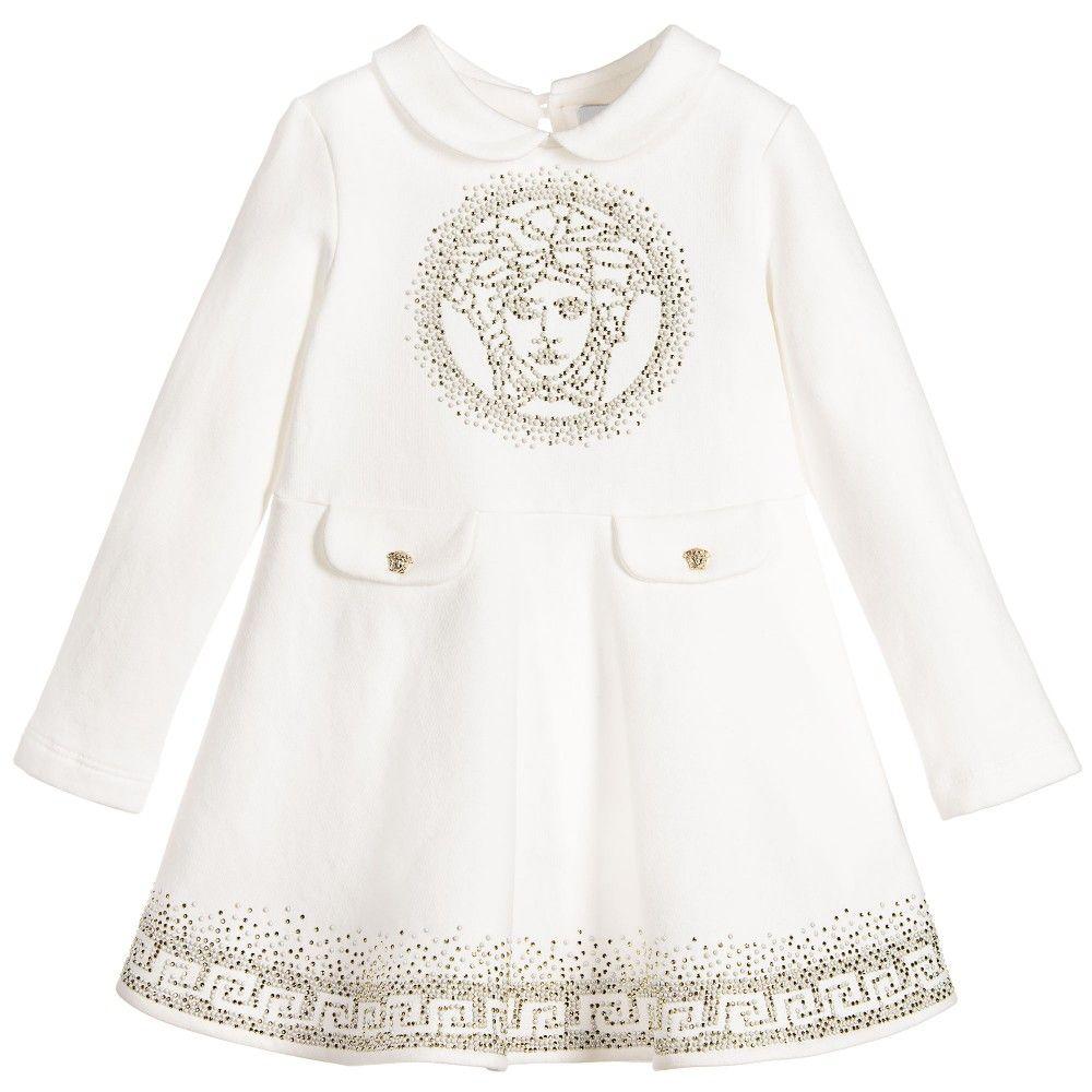 b0dd1f023 Young Versace Baby Girls Ivory Cotton Medusa Dress at Childrensalon.com
