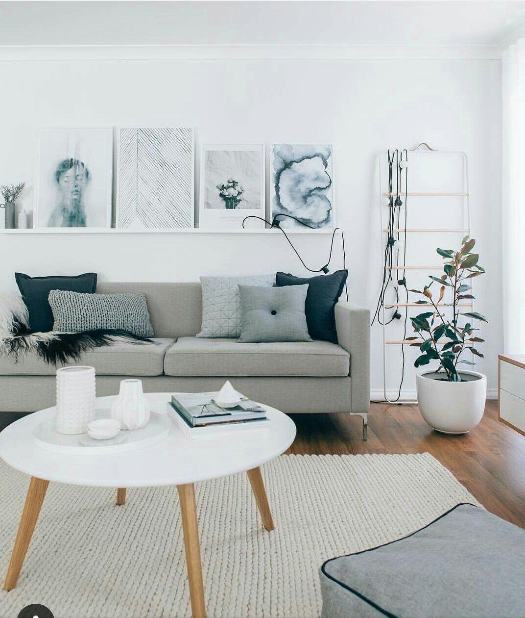 We Could Drape Lights Like This Living Room Scandinavian