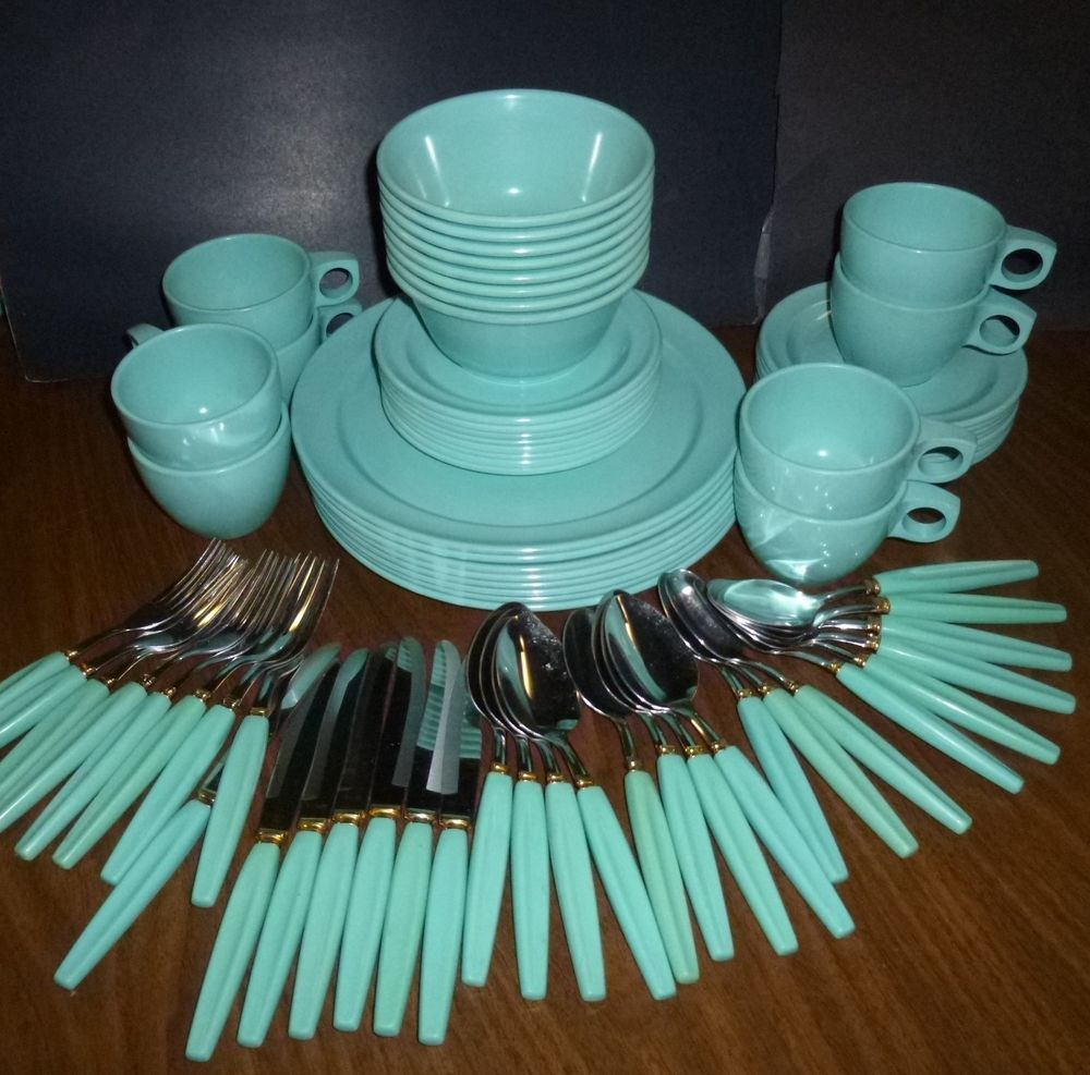 Turquoise Melmac Dishes. I actually have a lot of these pieces in my c&er! -Lindsay & Watertown Monterey Melmac Dishes Blue Set plus Silverware 73 Pc ...