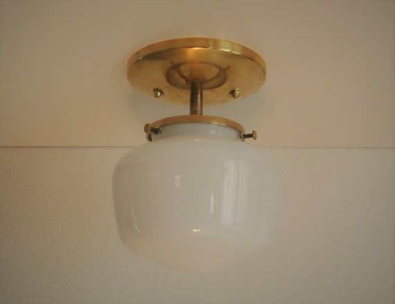 Brass semi-flush mount ceiling fixture. This vintage style ...