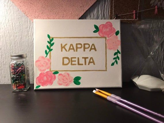 Kappa Delta canvas, sorority letters, big/little appreciation, room decor, zeta / sig kap / chi o / gamma gamma / phi mu, and more #biglittlecanvas