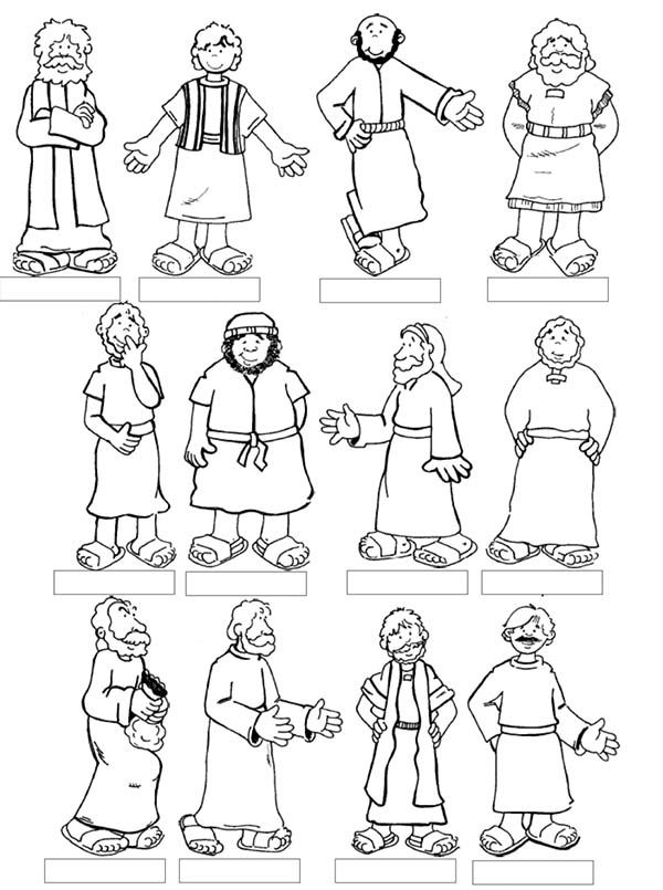 Jesus 12 Disciples Coloring Page Bible Lessons Sunday School