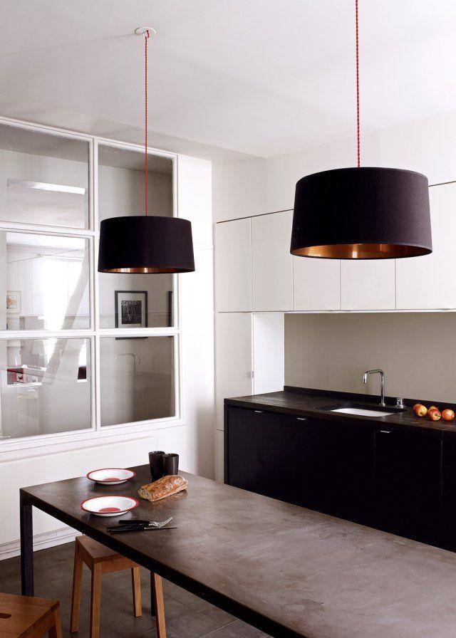 20 inspirations pour une cuisine noire et blanche Salons, Kitchens