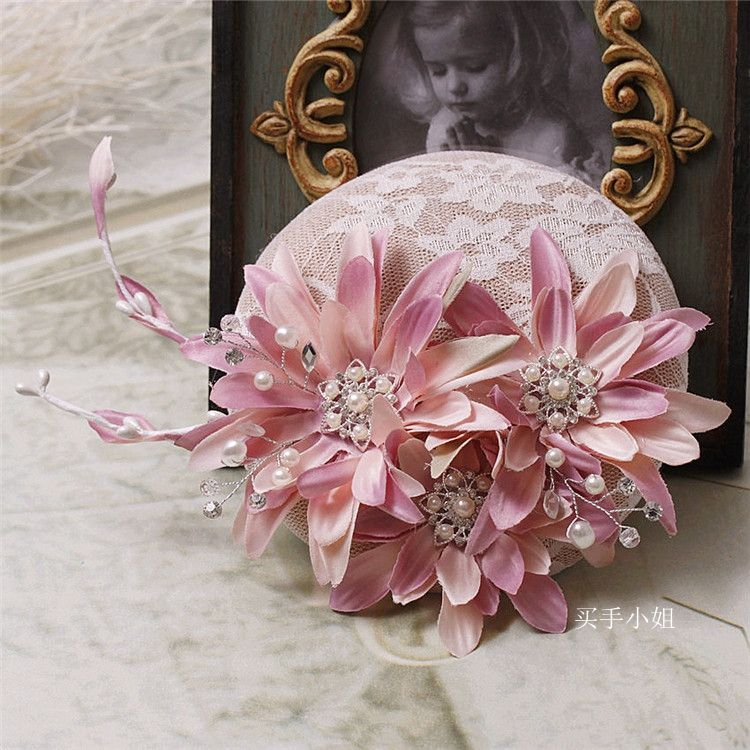 Aliexpress Com Buy Sl 82 Sweetheart Bling Bridal Gowns: Bride Pink Rhinestone Linen Wedding Pearl Fascinator Hat