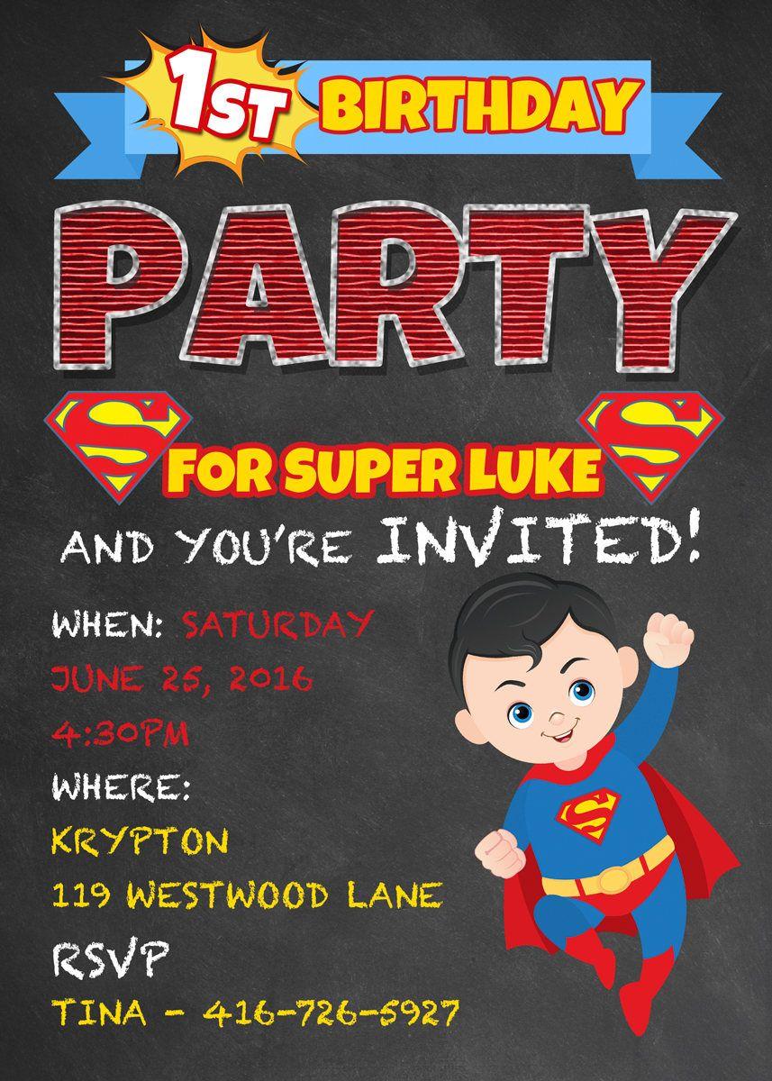 superman birthday invitations kids