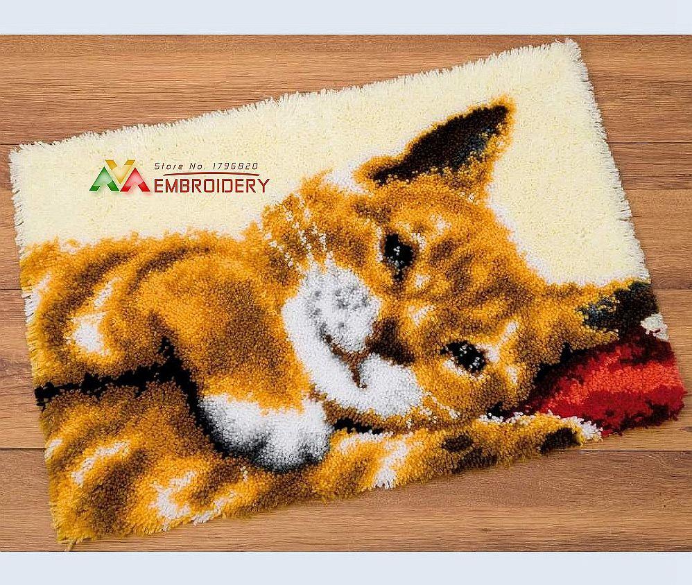 Hot Latch Hook Rug Kits DIY Needlework Unfinished Crocheting Rug Yarn Cushion Mat Cat in Sleep Embroidery Carpet Free Shipping