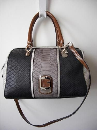 864f59268b3b GUESS Tisbury black multi large satchel python embossed