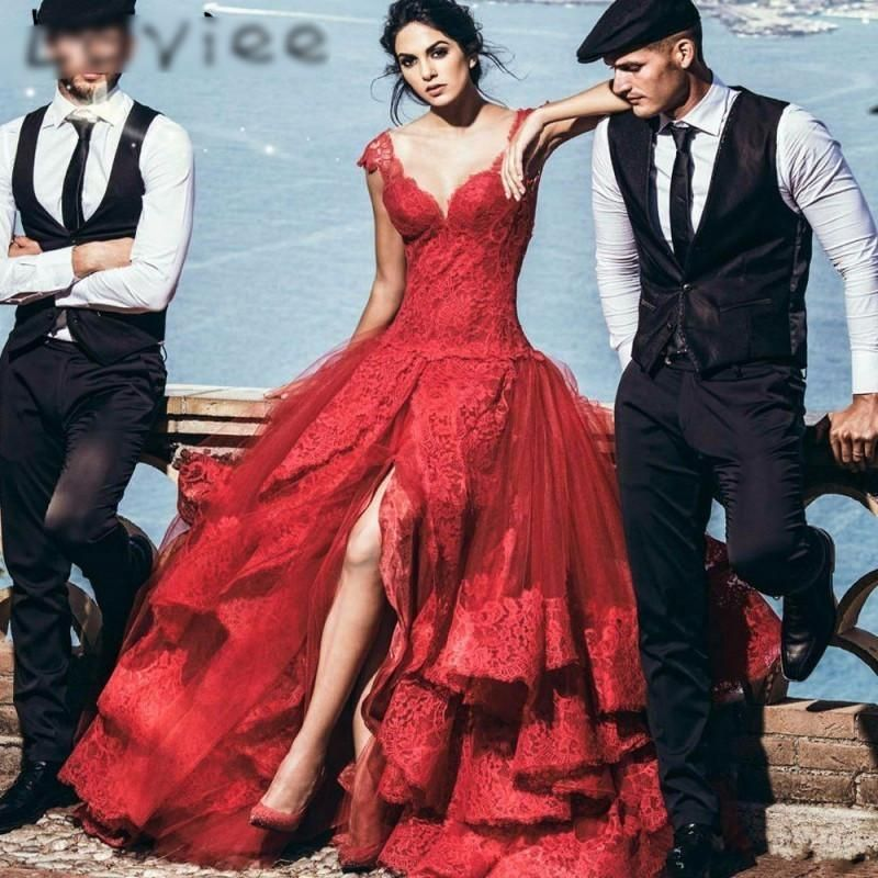 Vintage Red Lace Prom Dresses
