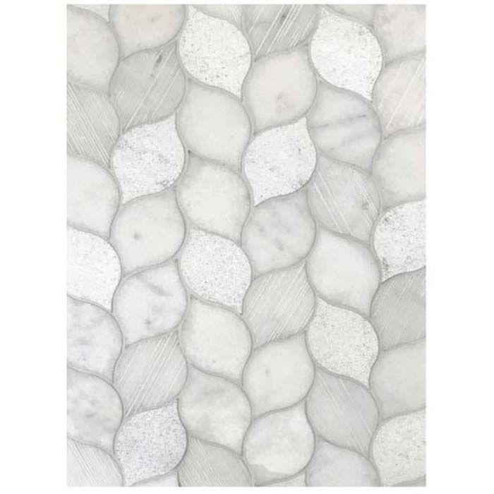 Tesoro Metropolitan Contempo - Cali Gris Leaf Multi Finish Mosaics #whitemarbleflooring