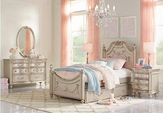 picture of Disney Princess Silver 5 Pc Full Poster Bedroom from - Poster Bedroom Sets
