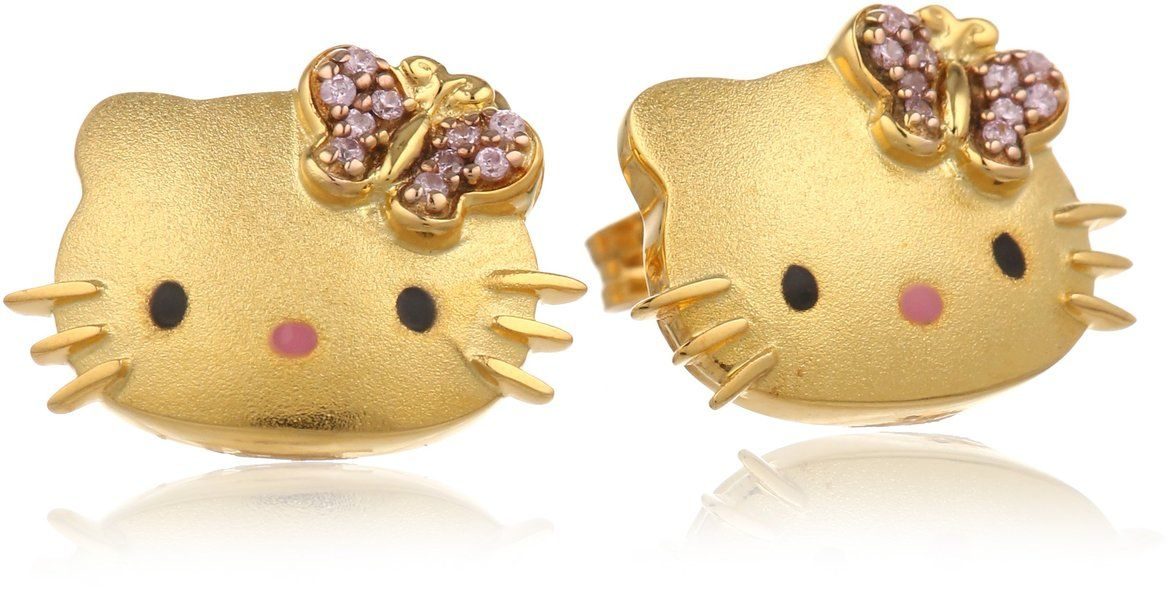 Hello Kitty Butterfly Kitty Gold Plated With Swarovski Outline