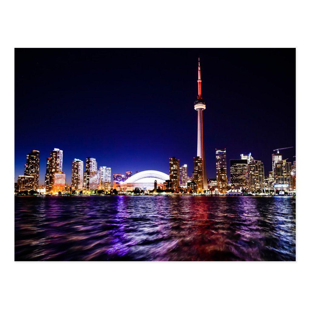 Toronto Canada Night Skyline Postcard Zazzle Com Toronto City Toronto Skyline Canada City