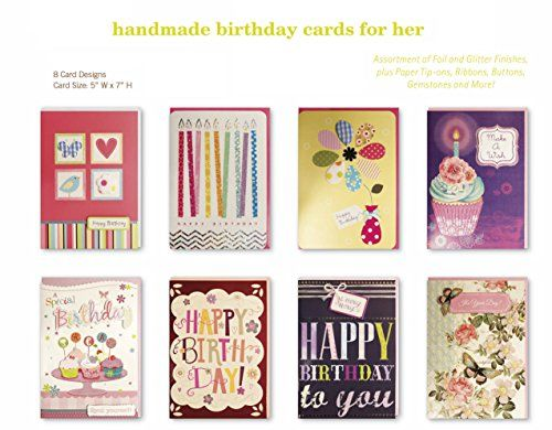 assorted handmade embellished birthday cards box set 8 pack birthday cards bulk birthday birthday card assortment - Assorted Birthday Cards In Bulk