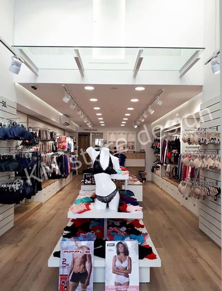 Από την KM store design πραγματοποιήθηκε ο ολοκληρωμένος Εξοπλισμός  Καταστήματος Εσωρούχων στην Αθήνα. Το υποκατάστημα dfe6780bd5c